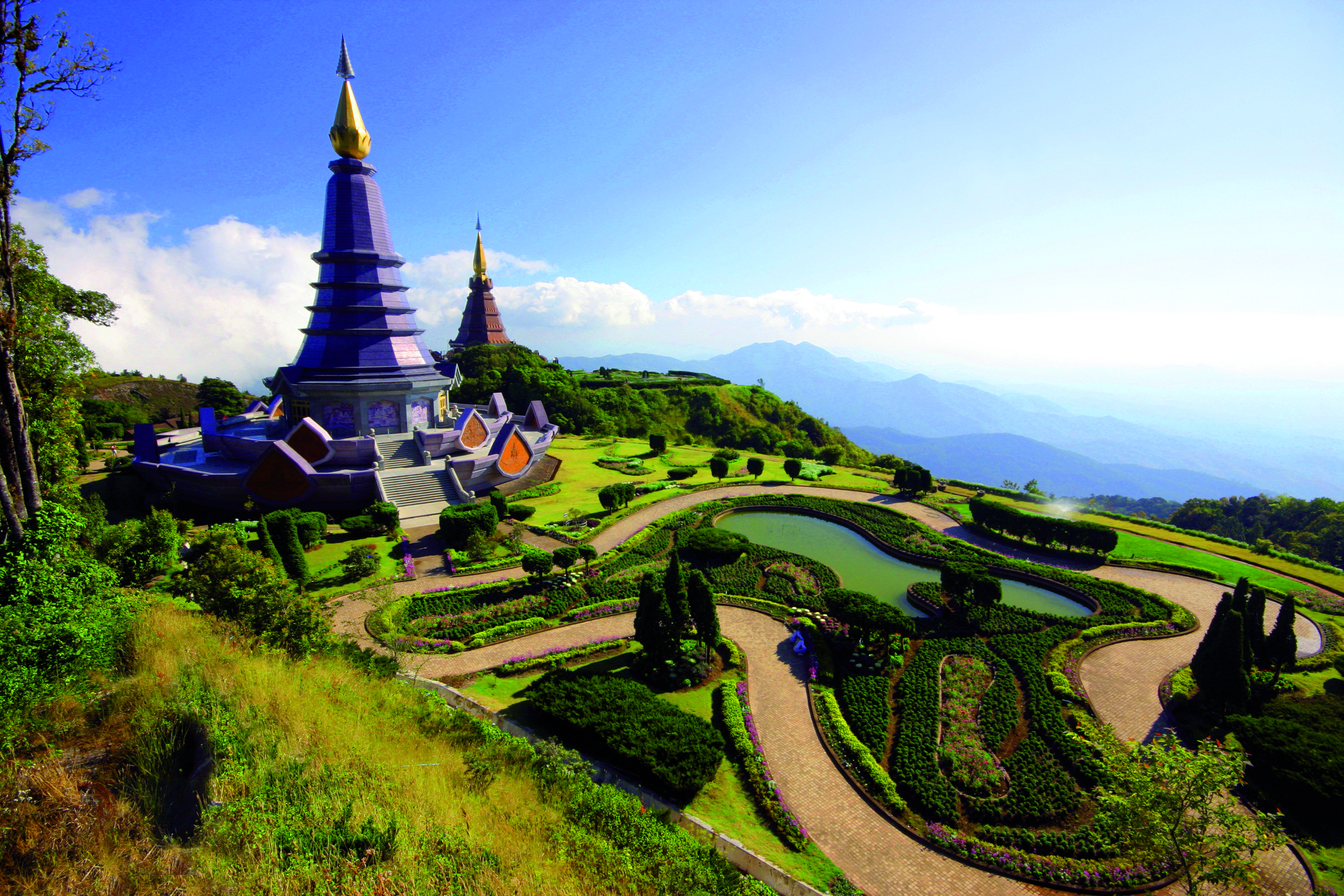 Pagoda on Peak Intanon Mountain, Chiangmai ,Thailand