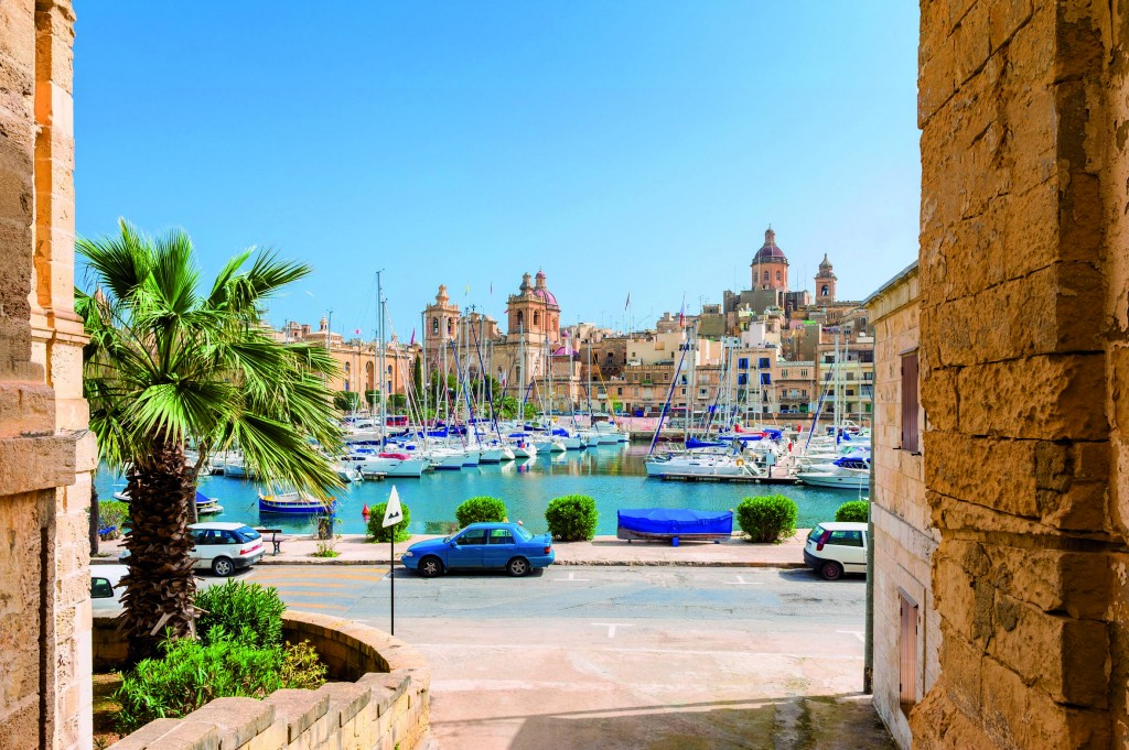 Street and Marina in Senglea, one of the Three Cities in the Gra
